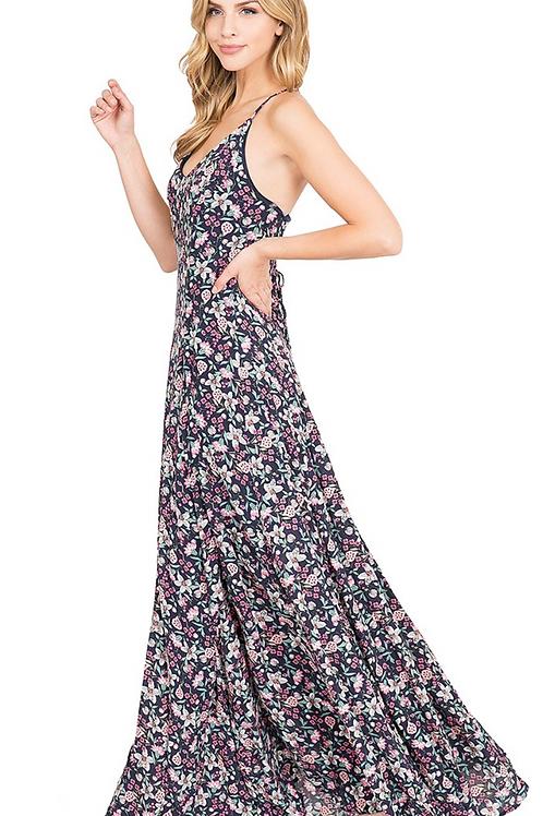 A-Line Maxi Floral Maxi Dress
