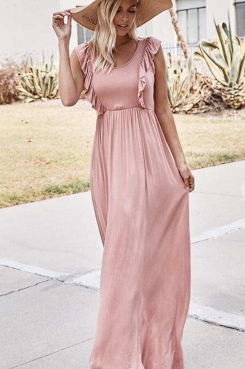 Dusty Rose Maxi Dress with Ruffles