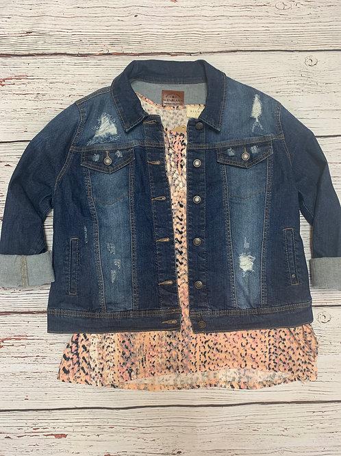 Distressed Denim Jacket Plus Size