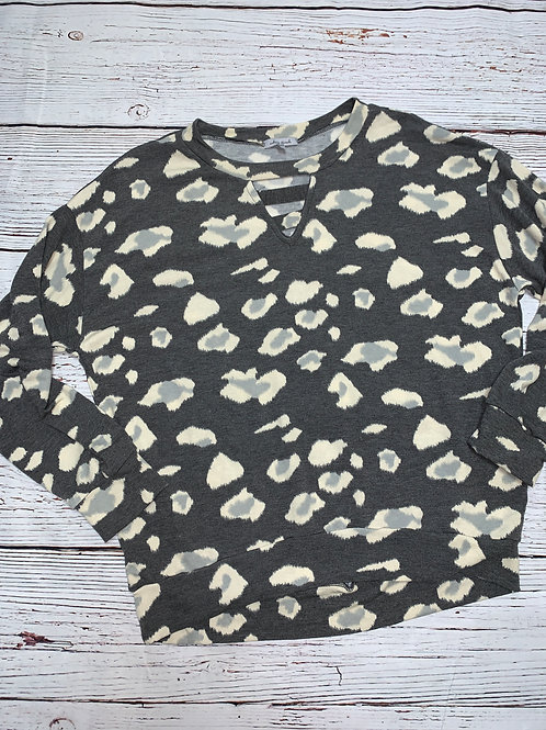 Over-sized Leopard Print Top Long Sleeve