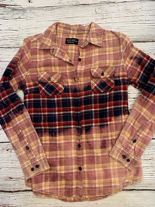 Custom Flannel Bleach-out Long Sleeve