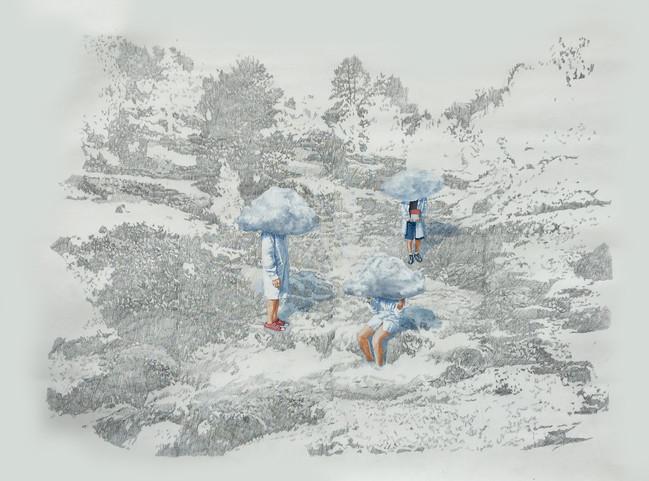 Nubes bajas - oleo y grafito sobre tela