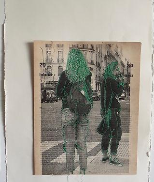7 Marea verde  2020 Collage dibujado con