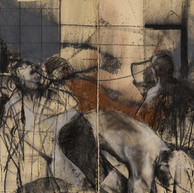 Introspecciones II - diptico - 70 x 110 cm, cada una,  carbonilla y pastel sobre papel.JPG