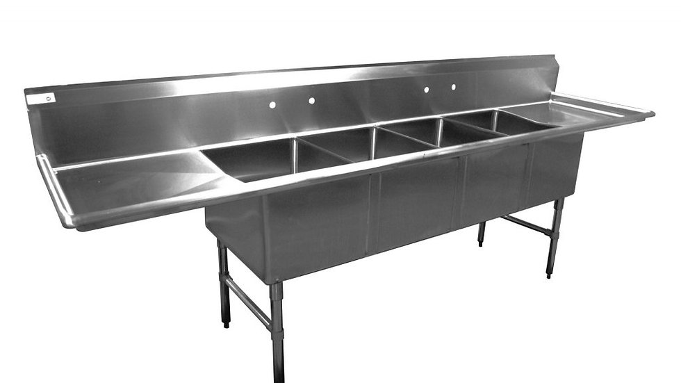 "Serv-Ware E4CWP18242-24 - Sink, 4 compartment, 120""W x 30""D x 45-1/2""H, 24"" L&R"