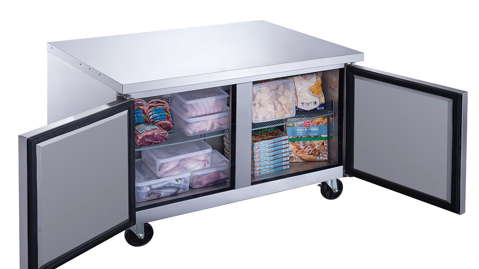 DUC60F 2-Door Undercounter Commercial Freezer in Stainless Steel