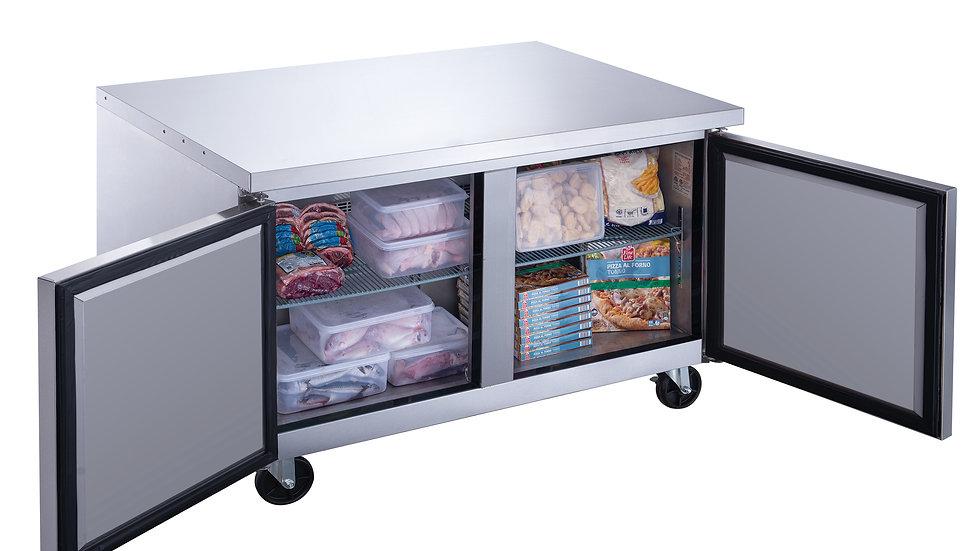DUC60F 2-Door Undercounter Commercial Freezer in Stainless Steel