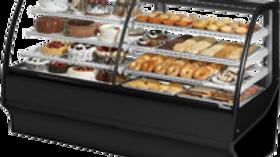 "rue TDM-DZ-77-GE/GE-B-W 77"" Black Curved Glass Dual Dry / Refrigerated Display M"