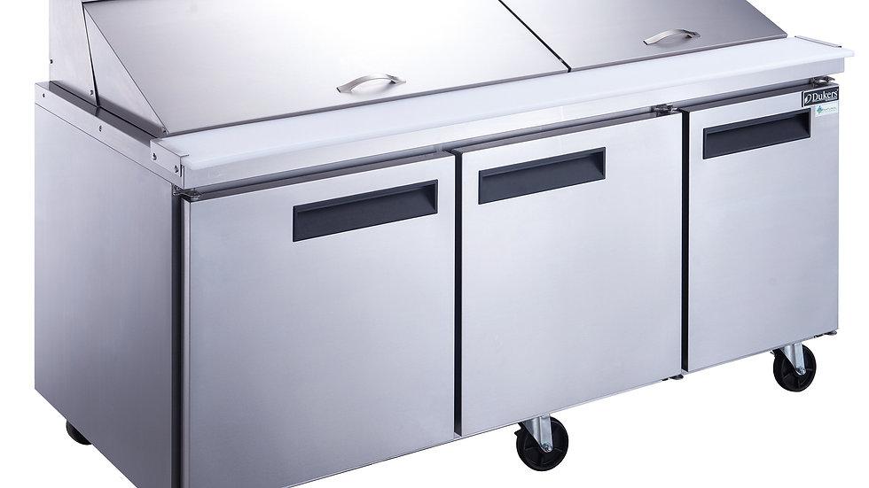 DSP72-30M-S3 3-Door Commercial Mega Top Food Prep Table Refrigerator