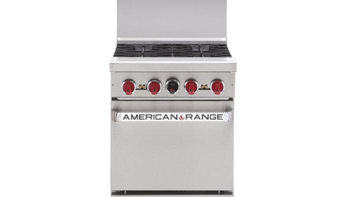 American Range AR-4 24in Restaurant 4 Burner Gas Range W/ Standard Oven