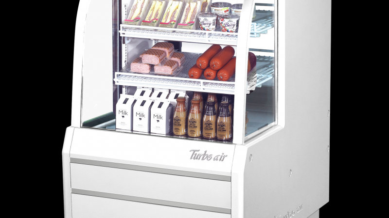 "Turbo Air TCDD-36-2-H 36"" White Curved Glass Refrigerated Deli Case"