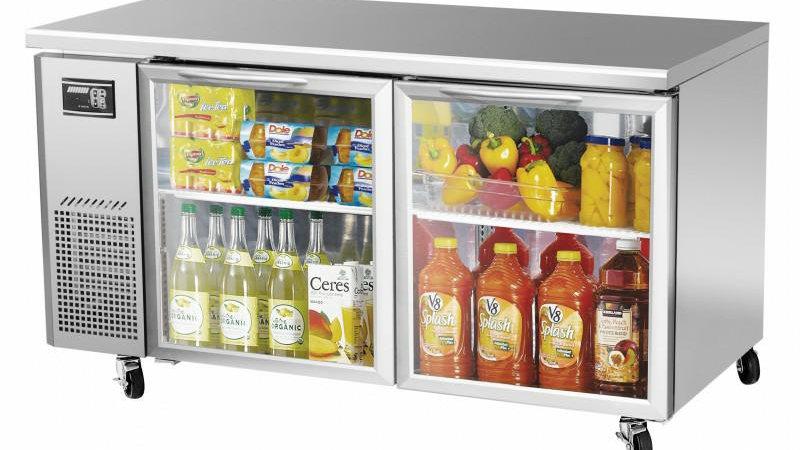 "JUR-60-G J Series 60"" Glass Door Undercounter Side Mount Refrigerator"
