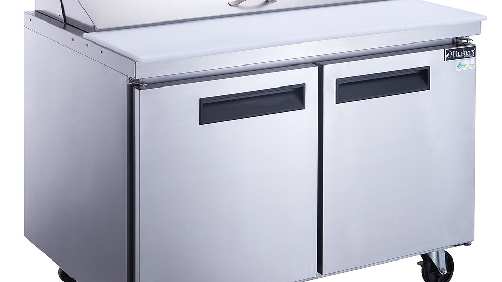 DSP48-12-S2 2-Door Commercial Food Prep Table Refrigerator in Stainless Steel