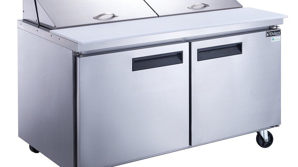 DSP60-16-S2 2-Door Commercial Food Prep Table Refrigerator in Stainless Steel
