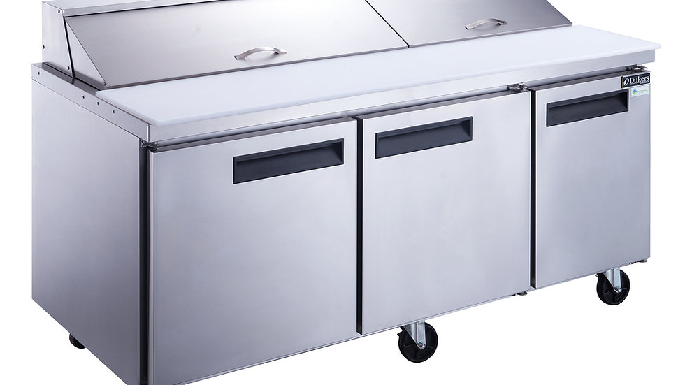 DSP72-20-S3 3-Door Commercial Food Prep Table Refrigerator in Stainless Steel