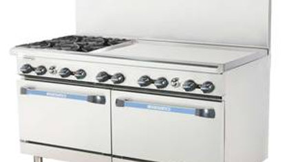 "Radiance TARG-4B36G/TARG-36G4B 60"" Restaurant Gas Range 2 Std Ovens 4 Burners &"