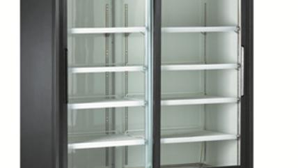 80″ Upright Sliding Glass 2 Door 8 Shelf Display Refrigerator