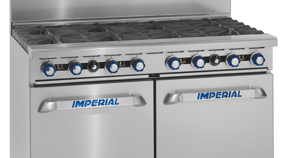 "Imperial Range IR-10 60in Gas Restaurant Range w/10 Burners & Two 26.5"" Ovens"