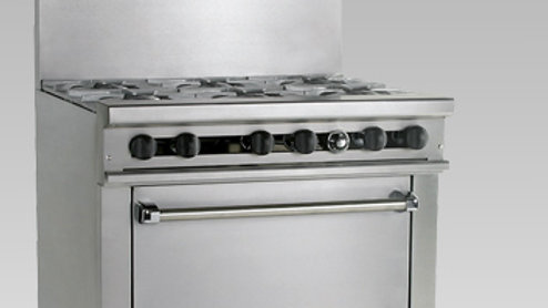6 Burner Gas Convection Oven Range Model TMD36-6-1C by Therma-Tek UL, CE, NSF-4