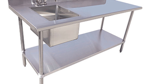 "60"" Table with Sink - 16 Gauge 304 Stainless ( Left or Right Sink)"