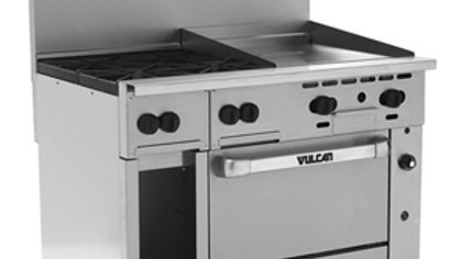"Vulcan 48S-4B24GTN Endurance Natural Gas 4 Burner 48"" Range with 24"" Thermo"