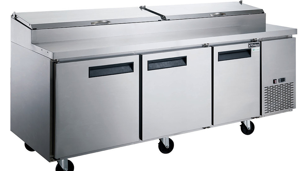 DPP90-12-S3 Commercial 3-Door Pizza Prep Table Refrigerator