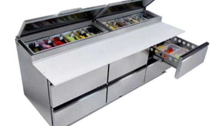 """Silver King SKPZ92D/C10 Pizza Prep Table, front breathing, 92"""", raised refrigera"""