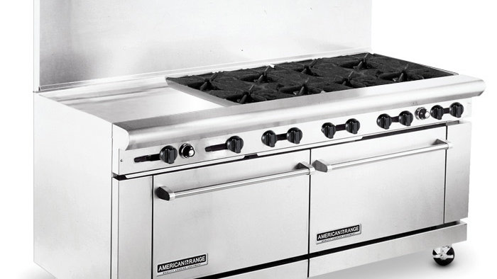 AR24G-8B 72in Heavy Duty 8 Gas Burner Range w / 24in Griddle
