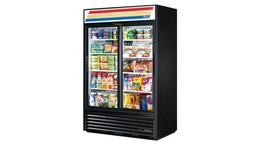 "True GDM-45-HC-LD 51"" Black Refrigerated Sliding Glass Door Merchandiser"