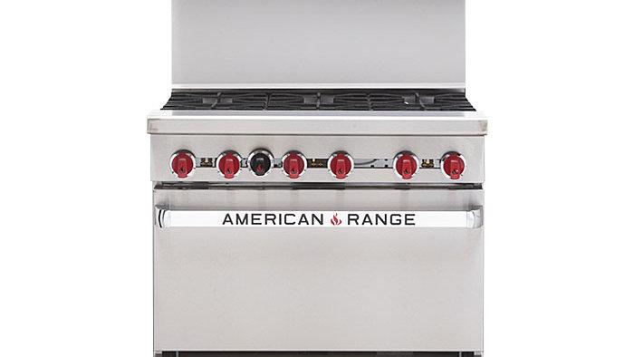American Range AR-6 36in Commercial 6 Burner Gas Restaurant Range w/ Std Oven