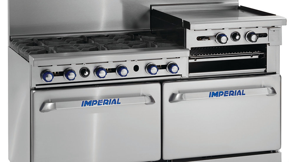 Imperial Range IR-6-RG24 60in Restaurant Range w/ 6 Gas Burner, 2 Ovens, 24in Gr