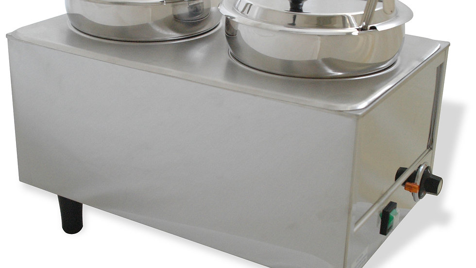 Benchmark 51072P 7 Quart Dual Well Food Warmer Stainless w/ Lids and Ladles