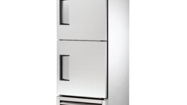 "True T-23F-2 - 27"" Solid Stainless Steel Half Door Reach In Freezer"