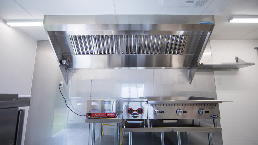 9' Mobile Kitchen Hood System with Exhaust Fan