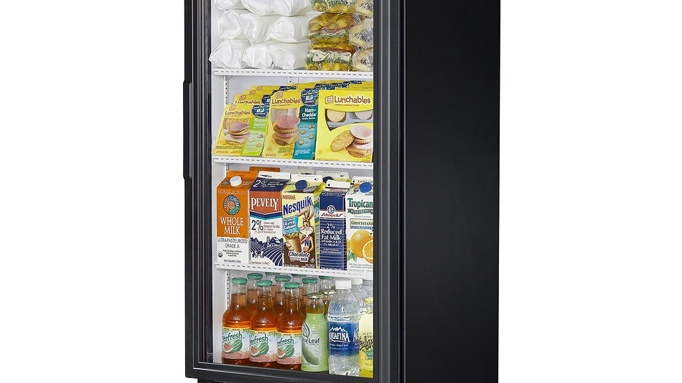 "True GDM-12-HC-LD 25"" Glass Door Refrigerator Merchandiser with 12 cu. ft. Capac"