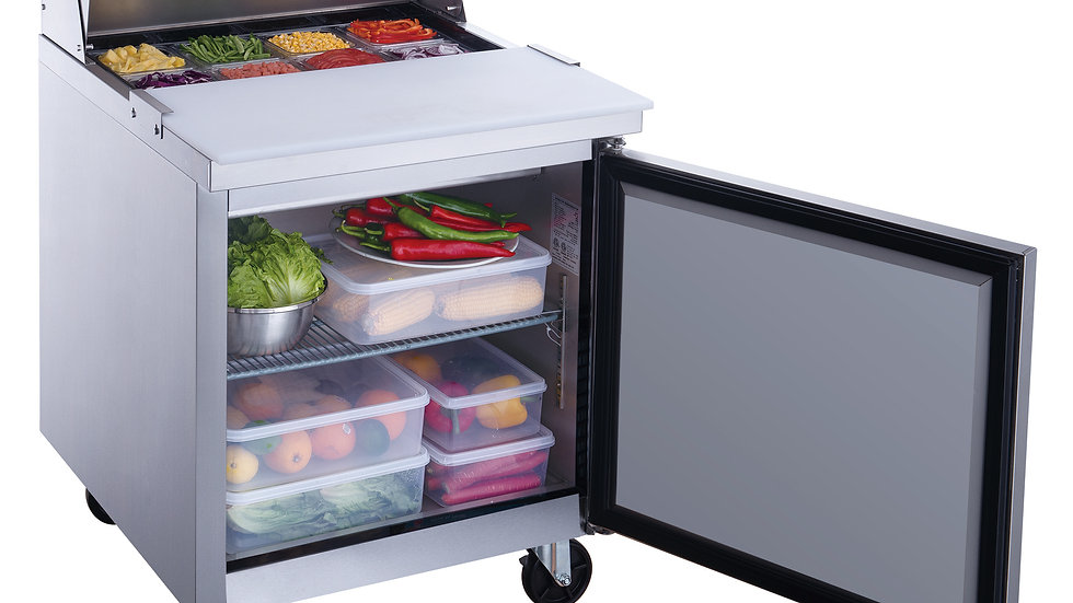 DSP29-8-S1 1-Door Commercial Food Prep Table Refrigerator in Stainless Steel