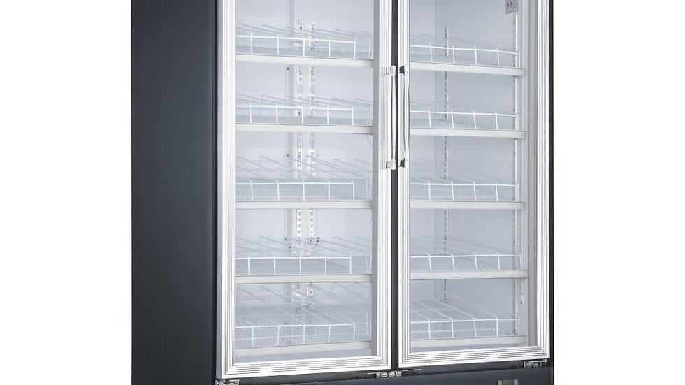 DSM-48R Commercial Glass Swing 2-Door Merchandiser Refrigerator in Black
