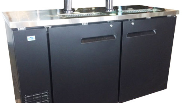 2-Door Black Back Bar Kegerator Solid Door Stainless Steel Countertop (XUDD-3K)