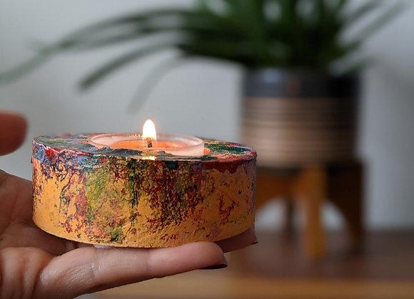 Round concrete tea light candle holder