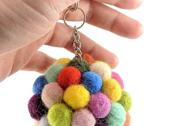 Colorful needle felted key chain ball