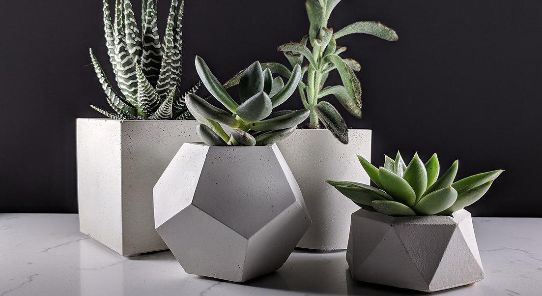 Group of 4 succulent planters made of concrete, geometric planter set