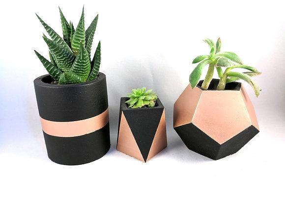 Black & rose gold concrete succulent planter set of 3