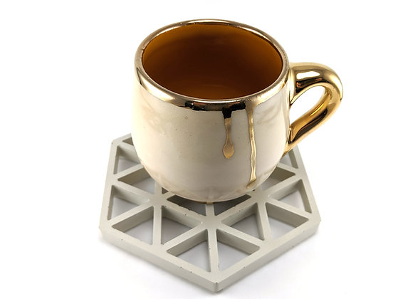 Hexagon drink coasters set of 4