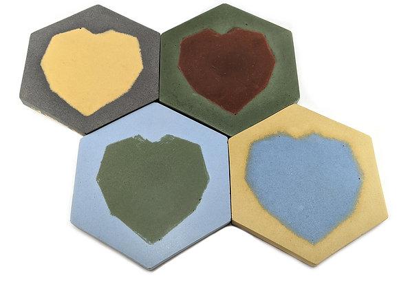Heart hexagon drink coasters set of 4
