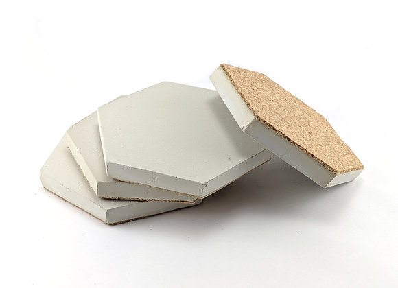 Hexagon concrete coaster set