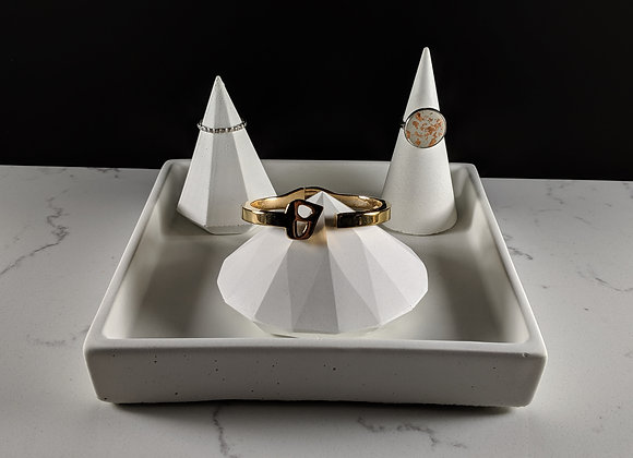 Concrete diamond bracelet and ring holder set with tray