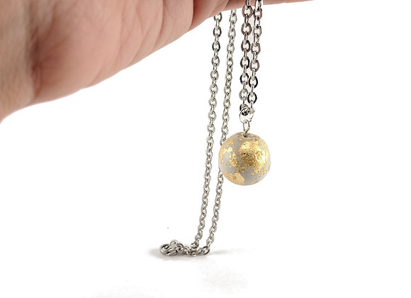 Concrete ball necklace with stainless steel chain