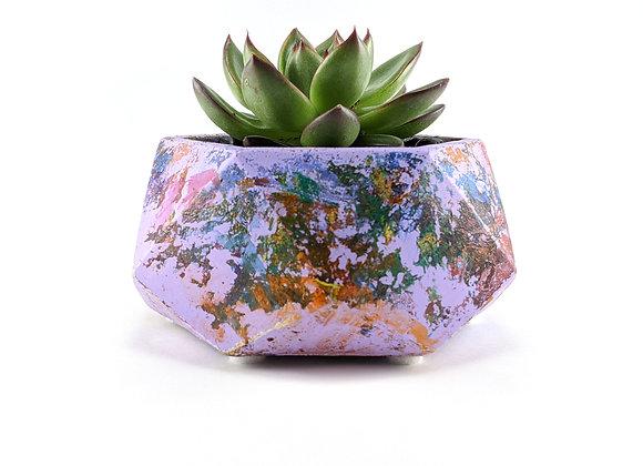 Swirled painted geometric hexagon succulent planter