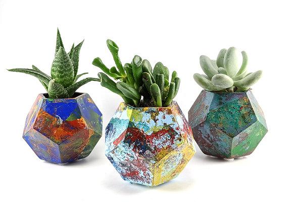 Succulent planters set of 3, Enamel swirled