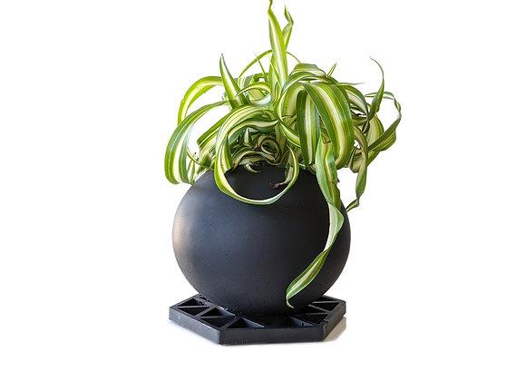 Matte Black Sphere indoor pot